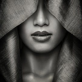 woman behind the hood by Azal Akasyah - People Portraits of Women ( portraiture, great, monochrome, azalaka, black and white, woman, dramatic, portraits, portrait,  )