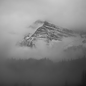 Maroon Peak Fog by Seamus Crowley - Landscapes Mountains & Hills ( clouds, reflection, peak, black and white, fog, snow, layers, colorado, bw, lake, aspen )