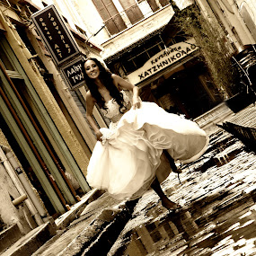 rain by Ilias Zaxaroplastis - Wedding Bride ( sepia, wedding, woman, couple, bride )