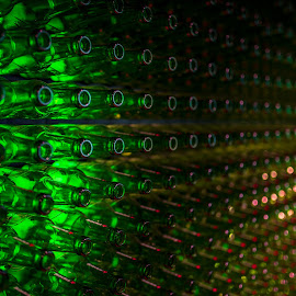Empty Beer Botles by Ovidiu Bujor - Abstract Patterns ( lights, botles, green, amsterdam photographer, empty, glass, amsterdam, light, bokeh, wall )