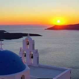 Three bells of fira, santorini by May May - Landscapes Sunsets & Sunrises ( blue, sunset, greece, bells, dome, ocean, beauty in nature, landscape, santorini )