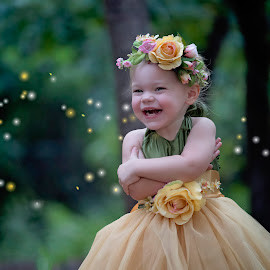 Millie by Carole Brown - Babies & Children Child Portraits ( floral crown, blonde hair, fireflys, laughing little girl, tulle dress )