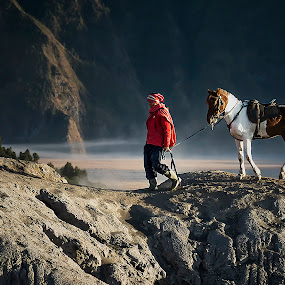 Fadli and Sultan by Agung Hendramawan - Animals Horses ( #bromo, #bromomountain, #horse, #people )