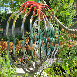 The Rainbow Spinner by Angie Keverne - Novices Only Objects & Still Life ( tree, metal, ornament, flowers, garden )