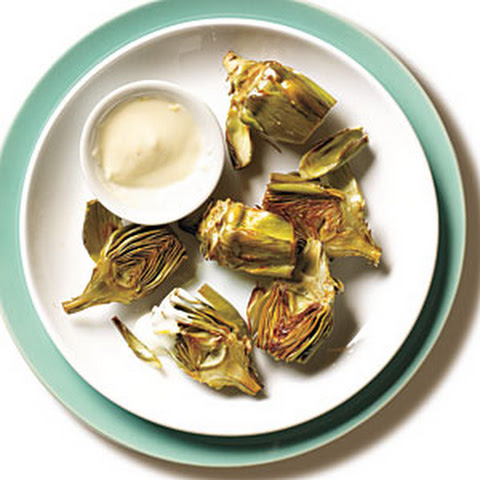 Roasted Baby Artichokes with Lemon Aioli