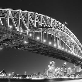 Sydney Harbour Bridge by Darren Fleming - Buildings & Architecture Bridges & Suspended Structures ( b&w, sydney harbour bridge, sydney opera house, night, sydney )
