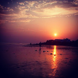 by Soumi Halder - Instagram & Mobile Other ( Landscape, Sunset, SeaBeach, Sea, NikonPhotography, Nikon_D3100, Nikon_travel, travel, Silhouette, Sky, Sun, Kolkata, India, Sand )