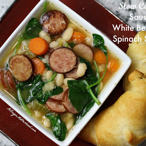 Slow Cooker Sausage, White Bean and Spinach Soup