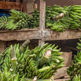 Green bananas for sale by Vibeke Friis - City,  Street & Park  Markets & Shops ( market, green bananas, stall, tanzania )