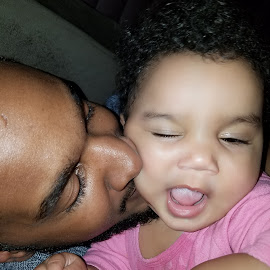 Papi Love by Kimberly Stokes-Holder - Babies & Children Babies ( daddy, baby, wink, girl, kiss, papi )