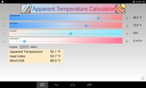 Apparent Temperature Calc - screenshot
