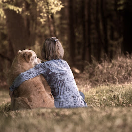 Sitting together by Hilda Palm - People Family ( friends, relax, children, forest, dog )