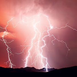 Angry Red Storm by Steven Love - Landscapes Weather ( hill, lightning, mountains, monsoon, arizona, night, storm, landscape )