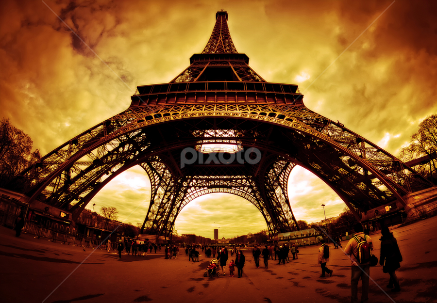 Eiifel Tower by Sebastien Lory - Buildings & Architecture Statues & Monuments ( clouds, eiffel tower, paris, fisheye, famous landmarks, dramatic, cloud, eiffel, monument )