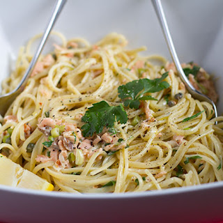 Smoked Salmon, Spring Onion, And Caper Linguine