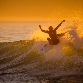 Golden Surfer by Eugene Viljoen Photography - Sports & Fitness Surfing ( surfing )