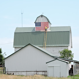 Proud to be American! by Linda McCormick - Buildings & Architecture Other Exteriors ( usa flag, flag, american, barn art, usa )