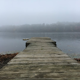 Dock in the Mist by Kristine Nicholas - Novices Only Landscapes ( water, old, vintage, boats, lake, boat, woods, dock, country, boating, nature, bouy, pier, trees, pond )
