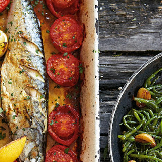 Whole Roast Mackerel, Samphire With Garlic And Tomatoes