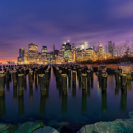 Lower Manhattan by Gordon Koh - City,  Street & Park  Night ( brooklyn bridge, manhattan skyline, blue hour, manhattan, long exposure, night, new york, bridge, cityscape, architecture, brooklyn, nightscape )