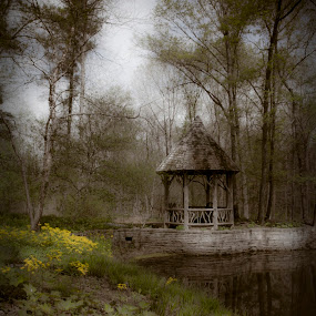 Time for Reflection by Vicki Overman - Landscapes Prairies, Meadows & Fields ( gazebo )