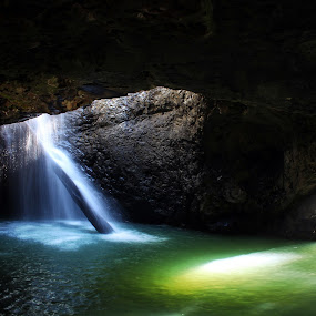 Mermaid Cave by Ty Hanson - Landscapes Caves & Formations ( water · 2013 · arch · finchzero · green · waterfall · beautiful delete cave · ty hanson · photo · photography · blue · natural · formation )