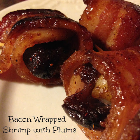 Bacon Wrapped Shrimp with Plums