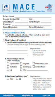 MACE Concussion Evaluation - screenshot