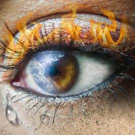 Four Elements by Carmen Liebenberg - Digital Art People ( clouds, sand, macro, digital art, fine art, air, four, elements, fire, tears, eye, four elements )