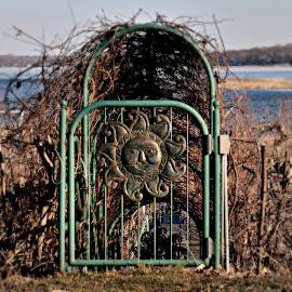 Sun Gate by Dawn Moder - Novices Only Objects & Still Life ( water, metal, lake, sun, gate )