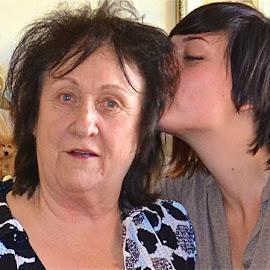Surprising Grandma by Kathleen Koehlmoos - People Family ( look of surprise, family, granddaughter, grandma, expressive eyes,  )