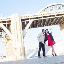 Kiss by Yansen Setiawan - Wedding Other ( kiss, la bridge, lovers, wedding, lovebirds, couple, engagement )