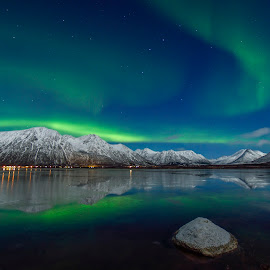 Moonlight and Aurora over Forfjord by Jens Andre Mehammer Birkeland - Landscapes Mountains & Hills ( winter, sky, snow, aurora borealis, landscape, light, moonlight, norway )