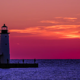 Manistee Sunset by Darrin Ralph - Uncategorized All Uncategorized ( lake michigan, lighthouse, sunset, lake, colorful )