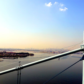 NYC from the top of the Whitestone Bridge by Chris Gray - Buildings & Architecture Bridges & Suspended Structures ( water, skyline, blue, sea, bridge,  )