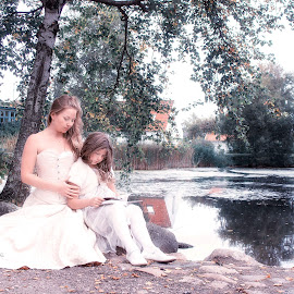 By The Lake  by Inna Fangel - People Family ( love, water, mother, happy, family, daugther, lake )