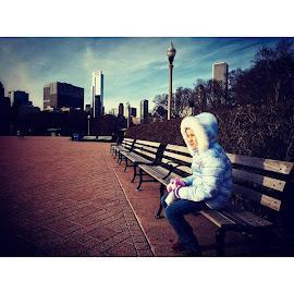 Park Bench Girl, Chicago by Adam Favre - Buildings & Architecture Office Buildings & Hotels