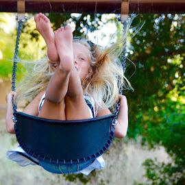 Childhood Bliss by Kathleen Koehlmoos - Babies & Children Children Candids ( swinging, swingset, swings, summer, childhood )
