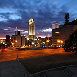 Omaha Dawn by Steve O'Donnell - City,  Street & Park  Skylines ( clouds, omaha, urban, skyline, street, horizon, sunrise, nebraska, downtown )