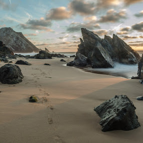 rocks by Miguel Lapa - Landscapes Sunsets & Sunrises ( sunset, adraga, sintra, portugal )