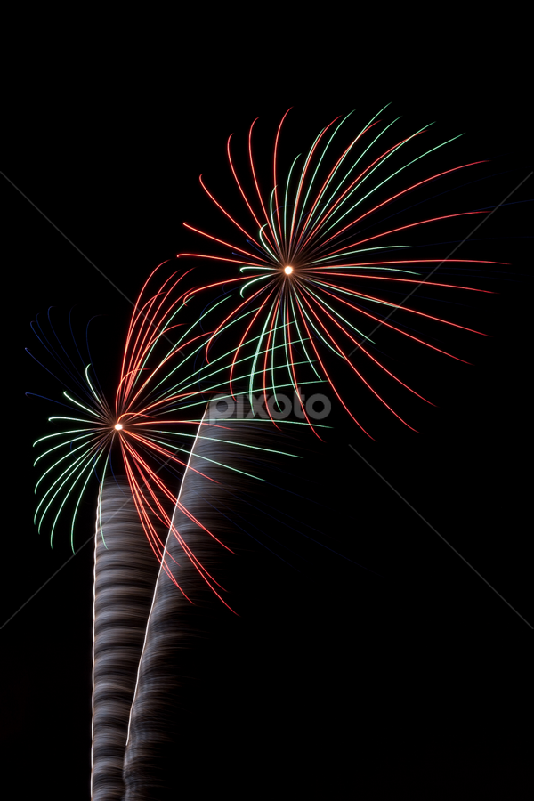 Firework Palms... by Tom Whitney - Abstract Fire & Fireworks ( redscapes, red, pwcfireworks, green, dark sky, trees, fireworks, july, 4th, palms )