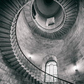 St Pauls Cathedral - Deans Staircase by George Johnson - Buildings & Architecture Public & Historical ( detail, monochrome, stairs, church, cathedral, spiral, historic )