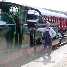 Crewman of No 65 by DJ Cockburn - Transportation Trains ( west sussex, dungarees, steam engine, vintage, railroad, no 65, 0-6-0, bluebell railway, se&cr, steam locomotive, south eastern and chatham railway, england, railway, o1 class, train, driver, historical, antique, man )