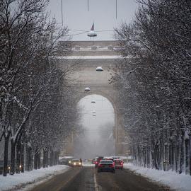 Little Paris by Baltă Mihai - City,  Street & Park  Street Scenes ( paris, bucharest, winter, arc de triomphe, street, little, romania, city )