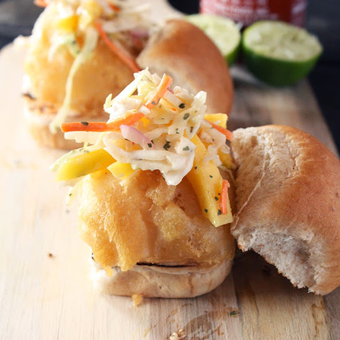 Crispy Fish Sliders with Spicy Mango Coleslaw