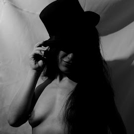 A Jaunty Smile by DJ Cockburn - Nudes & Boudoir Artistic Nude ( south asian, woman, art nude, home shoot, full nude, portrait, homburg, grayscale, off camera flash, standing, monochrome, model, hat, black and white, indian )