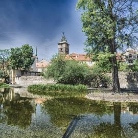 Plzen Park by Adam Lang - City,  Street & Park  City Parks ( water, church, park, czech, reflections, plzen )