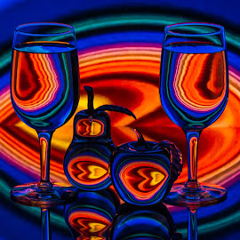 Space Magic by Lisa Hendrix - Artistic Objects Glass ( inversion, reflection, fruit, bright, colorful, color, apple, colors, artistic, glass, object, wine glasses, pear )