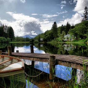 Loch Ard by Sandra Cockayne - Transportation Boats ( scotland, loch ard, wooden jetty, rowing boat, sandi cockayne, lake, loch, jetty, scenic, boat, scottish loch, sandra cockayne, mooring, moored up,  )