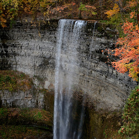 Plunging into fall by Vita Perelchtein - Novices Only Landscapes ( tews, water, explore, canada, green, cliff, waterfall, yellow, dundas peak, red, nature, fall, hike, river )